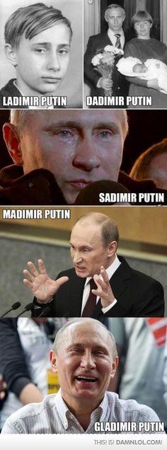 Mr. Putin's various avatars through the years!