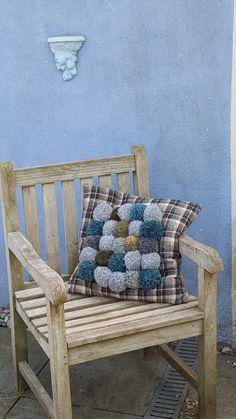 #1 soft blue pompom pillow - pumpkin- joy