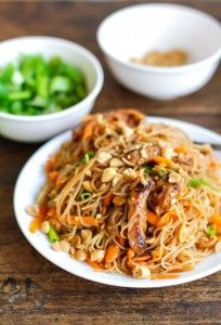 Hoisin Pork with Rice Noodles- Hoison Pork with Rice Noodles–this was outstanding! I used leftover pork tenderloin unstead of uncooked pork because that was what I had on hand. Asian Recipes, New Recipes, Dinner Recipes, Cooking Recipes, Favorite Recipes, Healthy Recipes, Dinner Ideas, Cooking Bacon, Cooking Games