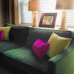 Color brightens my day! Painting by #jennyvorwaller #westelm #paidgesofa #moss #pillows #fuchsia #chartreuse