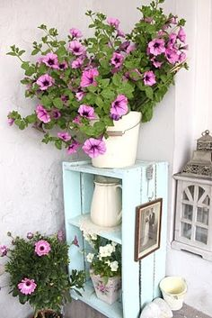 Decore seu jardim com caixotes de feira...  http://artesanatoquefaz.blogspot.com/