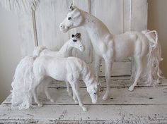 White horse statues family grouping of 3 by AnitaSperoDesign