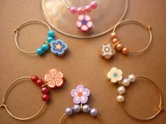 WINE GLASS CHARMS Set of 6 Polymer Clay Flowers by DengraDesigns, $9.95
