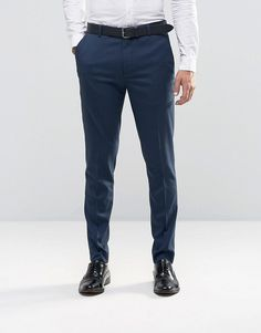 Image 1 of New Look Skinny Fit Smart Trousers In Navy Blue