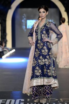 Blue suit by Zara Shahjahan at PFDC L'Oreal Paris Bridal Week 2013