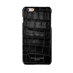 fd7b5059169b Wish List · iPhone 7 Plus Leather Cover in Deep Shine Black Croc   Black  Suede from Aspinal of