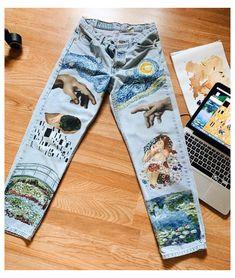 Women Casual Abstract Denim Pants - Combine Look Painted Jeans, Painted Clothes, Diy Clothing, Custom Clothes, Denim Kunst, Diy Fashion, Ideias Fashion, Fashion Design, Diy Vetement