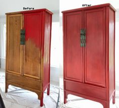 I painted my old Asian bamboo cupboard with Annie Sloan Chalk paint, and used clear and dark wax.  Loved how it turned out.
