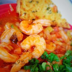 Shrimp creole on rice for my lunch from the office cafeteria.