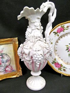 19th c. Parian French Bisque Pink Pitcher Applied Grapes Twisted Handle Jug Vases For Sale, Pottery Studio, Cool Pictures, Handle, Plates, French, This Or That Questions, Pink, Ceramic Studio