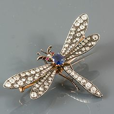 c.1880 Diamond and Sapphire gold on silver dragonfly brooch