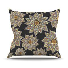 "Pom Graphic Design ""Floral Dance in the Dark"" Throw Pillow"