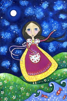 Whimsical folk art A4 print girl collecting stars inspirational picture childrens wall decor - The Collector by Lindy Longhurst