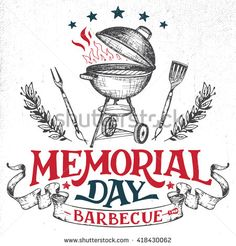 Memorial Day barbecue holiday greeting card. Hand-lettering cookout BBQ party invitation. Sketch of barbecue charcoal kettle grill with tools. Vintage typography illustration isolated on white - stock vector  #handlettering #lettering #memorialday #holiday #barbecue #bbq #grill #cookout #sketch #illustration #greetingcard #vintage