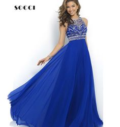 Cheap Evening Dresses, Buy Directly from China Suppliers: Royal Blue, Chiffon, Long, Evening Dress, 2016, Sequins, Beading, O-neck, Robe de Soiree Longue,&nb
