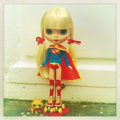 Supergirl Blythe and streaky the super cat | Flickr - Photo Sharing!