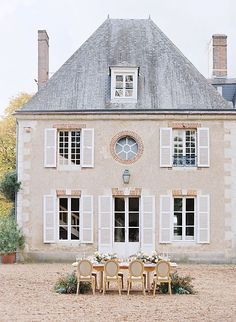 French Chateau Wedding Style with Outdoor Ceremony French Chateau Homes, French Style Homes, Castle France, French Exterior, French Countryside, Villa, Facade House, House Goals, Outdoor Ceremony