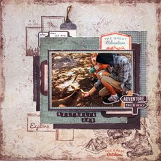 """""""Adventure """" Kaiser Materials used: – Outdoor trail paper pad, Orientee r paper, Stamp Outdoor Trail, Scrapbook Blog, Kids Scrapbook, Travel Scrapbook, Scrapbooking Layouts, Linda Thompson, Outdoor Stickers, Greatest Adventure, Fauna, Trail"""