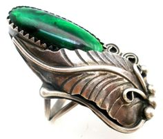 Sterling-Silver-Harrison-Yazzie-Ring-Abalone-Shell-Feather-Size-6-1-4-Navajo-NA