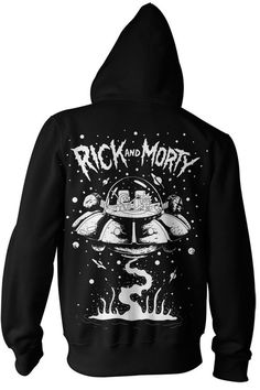 Rick and Morty Spaceship Adult Zip-Up Hoodie Sweatshirt (Medium, Black)