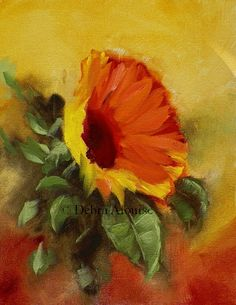 Sunflower.......painted in hand mixed oils. This is a Beautiful Golden Sunflower growing in a garden setting. Take a look at the Rich Earth tone value