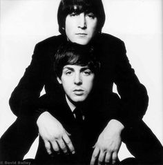 John Lennon and Paul McCartney by David Bailey. Tags: The Beatles; Sophia Loren, David Bailey Photographer, The Beatles, Vogue Magazin, John Lennon Paul Mccartney, The Rolling Stones, Reportage Photo, We Will Rock You, The Fab Four