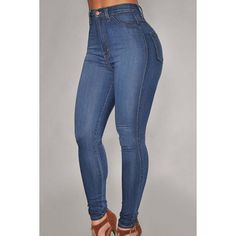 Blue High Waist Skinny Jeans ($25) ❤ liked on Polyvore featuring jeans, pants, bottoms, blue, high rise jeans, high-waisted jeans, super skinny jeans, skinny fit denim jeans and highwaist jeans
