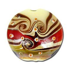 20mm Ivory with Hurricane Swirls Glass Lampwork Disc Beads