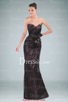 Classic Sweetheart Neckline Lace Evening Dress with Appliques and Rhinestones