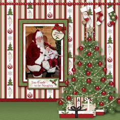 Cute To Be Naughty scrapbooking layout using Naughty Or Nice Collection Baby Scrapbook Pages, Scrapbook Templates, Scrapbook Cards, Christmas Scrapbook Layouts, Scrapbooking Layouts, Digital Scrapbooking, Christmas Layout, Christmas Templates, Christmas Clipart