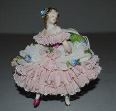 Stunning Dresden Unterweissbach German Lace Figurine Woman