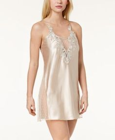 Flora by Flora Nikrooz Stella Charmeuse Embroidered-Neckline Chemise Nightgown - Tan/Beige XL Satin Nightie, Nightgowns For Women, Lingerie Sleepwear, Nightwear, Daytime Dresses, Women Lingerie, Lingerie Outfits, Dresses With Leggings, Trendy Plus Size
