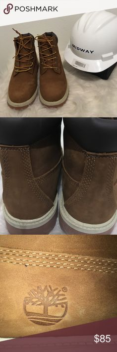 """Like New Timberlands😳 7.5. These are Awesome! ❤️Great Pair of Timberlands!  Size 5.5 which is a Women's 7.5. I normally wear 6-6.5 and I have a pair of 4.5's that fit perfect. They are 11"""" in length, 4 """" wide and 6"""" fit height. Minor marks from being packed and moved, never worn outside. If you have any questions let me know... these will go fast 😃 Timberland Shoes Boots"""