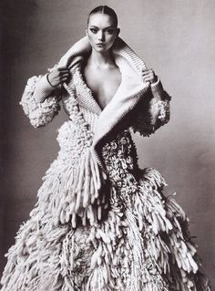 dramatic knit couture-I'd never wear this but I bow down to the woman that does--tres chic all the way