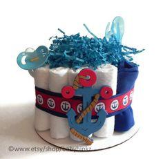 Nautical Anchor Diaper Cake  One Tier  Baby Shower by BabyBinkz, $29.50