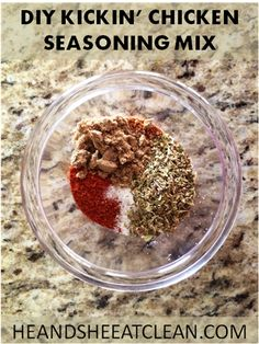 Turn your boring grilled chicken into flavorful, delicious grilled chicken with this DIY Kickin' Chicken Seasoning Mix! #heandsheeatclean #eatclean