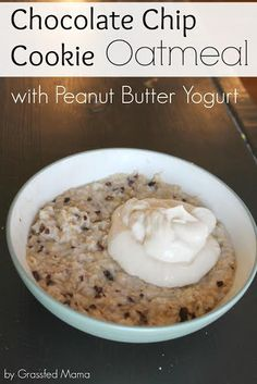 Chocolate Chip Cookie Oatmeal (I think this would be on plan for E) Baked 20 minutes Trim Healthy Recipes, Trim Healthy Momma, Low Carb Recipes, Real Food Recipes, Healthy Snacks, Cooking Recipes, Yummy Food, Healthy Eating, Breakfast Recipes