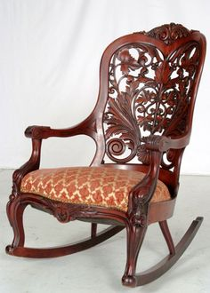 Style/Color: Rocking Chair - John H. Victorian Furniture, Victorian Decor, Unique Furniture, Vintage Furniture, Furniture Decor, Furniture Design, Old Chairs, Antique Chairs, Dining Chairs