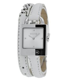 Silver & White Classic Wrap Leather-Strap Watch