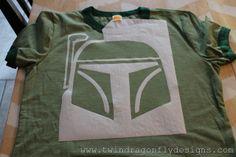 2 Star Wars Freezer Paper Stencilled T-shirt Tutorial
