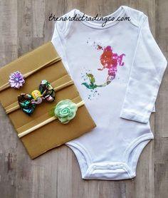 1c80dccd1837 Little Mermaid Infant Girl s Nordic Boutique Gift Set LS Onesie Bodysuit  plus 3 pc Headband Set Newborn Girls Clothing Gifts Accessories