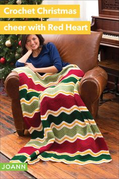 There is nothing more appreciated than a handmade gift! Especially one that warms your body and your heart. This chevron throw is a beautiful way to share the love of Christmas. How To Make Red, Christmas Crochet Patterns, Super Saver, Joanns Fabric And Crafts, Step By Step Instructions, Craft Stores, Crochet Projects, Needlework, Chevron