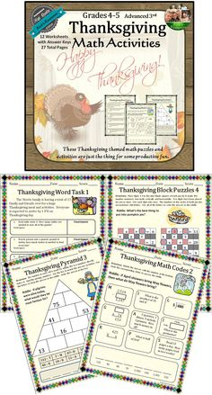These Thanksgiving math activities are a great way to keep kids productive and motivated around Thanksgiving. These math activities include motivating riddles and puzzles to keep kids' interest. They cover key math skills involving adding, subtracting, multiplying, dividing while using word problems, puzzles, and other problem-solving techniques. The activities are great for whole group work, centers, groups, or individuals.$