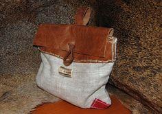 Viking bag pouch handmade linen leather