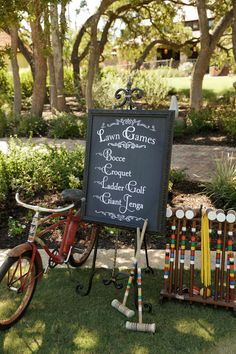Customizable Printed Lawn Games/Yard Games sign by UnbridledGraphics, $38.00 Great for your wedding or event- in chalkboard style
