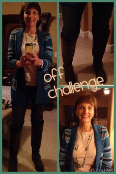 Off challenge 11/21/2014 LLBean Fair Isle cardigan, Old Navy long sleeved tee, Loft gray curvy skinnies, DSW brown riding boots, Charming Charlie's necklace.