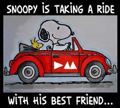 Snoopy is taking a ride with his best friend