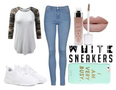 """white sneakers"" by victoriamello11 ❤ liked on Polyvore featuring NIKE, Topshop and ban.do"