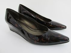 Stuart Weitzman Womens Shoes Black Brown Patent Leather Wedges Heels Size 6.5M #StuartWeitzman #PlatformsWedges