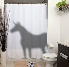 cortina de duche com sombra de unicórnio